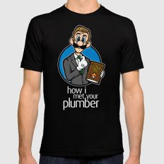 How I Met Your Plumber LARGE Black Mens Fitted Tee