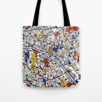paris map Tote Bags featuring Paris by Mondrian Maps