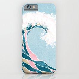 Surf X // Cali Beach Summer Surfing Rip Curl Gold Pink Aqua Abstract Ocean Wave iPhone Case