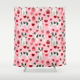 Border Collie valentines day cupcakes love hearts dog breed gifts collies herding dogs pet friendly Shower Curtain