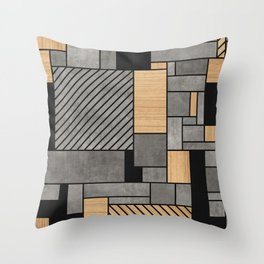 Concrete and Wood Random Pattern Throw Pillow