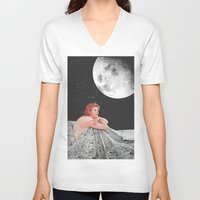 blanket V-neck T-shirts featuring Moon Blanket by Sophie Le