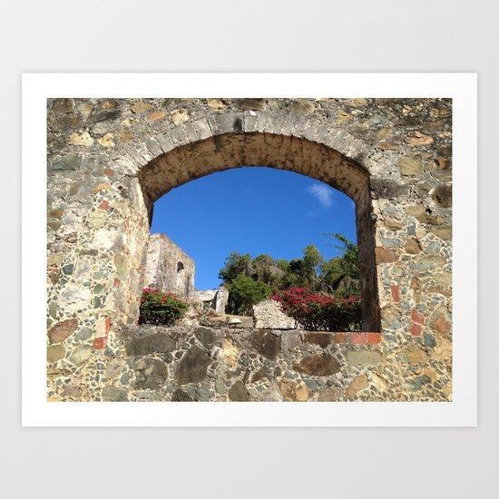 Caneel Bay, St. John, Virgin Islands, Sugar Mill Stone Ruins Art Print