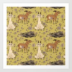 Summer Goat Pattern Art Print