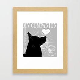 GERMAN SHEPHERD – My Companion - Gray Framed Art Print