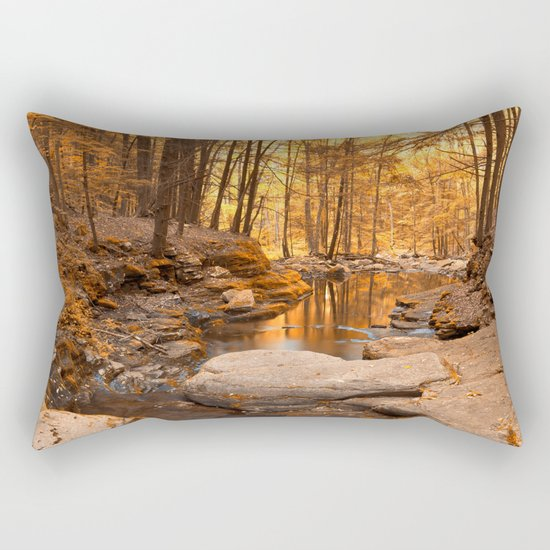 Worlds End Forest Stream - Gold Rapture Rectangular Pillow