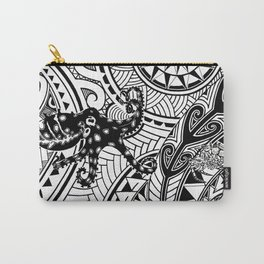 bluering octopus and boxer crab in tribal Carry-All Pouch