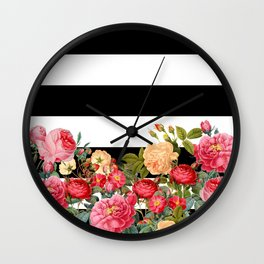 Black and White Stripe with Floral Wall Clock