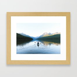 Kayaking on Bowman Lake Framed Art Print