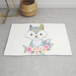Cute fox with flowers Rug