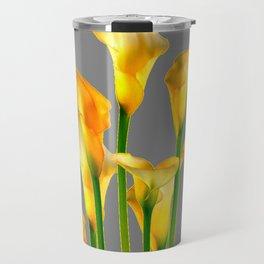 DECORATIVE GOLDEN CALLA LILY FLOWERS ON GREY ART Travel Mug