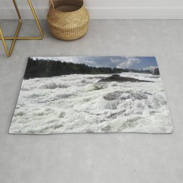 waterfall Storforsen in the north of Sweden Rug