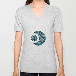 Magic Marble Gemstone Turquoise Teal Unisex V-Neck