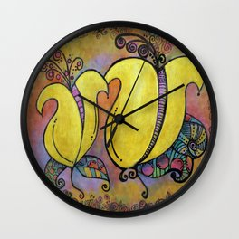 Yellow Two Lips Wall Clock