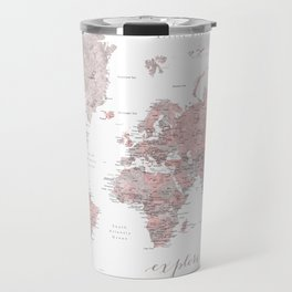 Explore - Dusty pink and grey watercolor world map, detailed Travel Mug