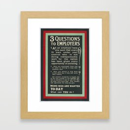 Poster, '3 Questions to Employers', 1914-1915, United Kingdom, by Parliamentary Recruiting Committee Framed Art Print
