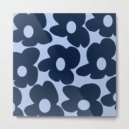Large Dark Blue Retro Flowers Baby Blue Background #decor #society6 #buyart Metal Print
