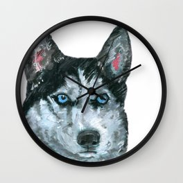 Husky printed from an original painting by Jiri Bures Wall Clock