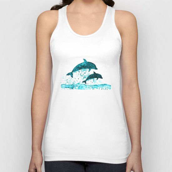 Dolphins, navy blue Unisex Tank Top