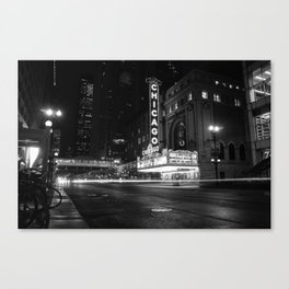 Chicago Theater Black and White Canvas Print