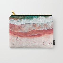 Pink Beach Print, Aerial Beach, Bondi Beach, Aerial Photography, Ocean Waves, Waves Print, Sea Print, Modern Home Decor Print Art Carry-All Pouch