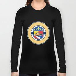 Vintage Cabriolet Fleur-de-Lis Crest Circle Retro Long Sleeve T-shirt