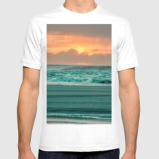 Ocean Sea Beach Water Clouds at Sunset - Pacific Coast Highway Washington White Mens Fitted Tee MEDIUM
