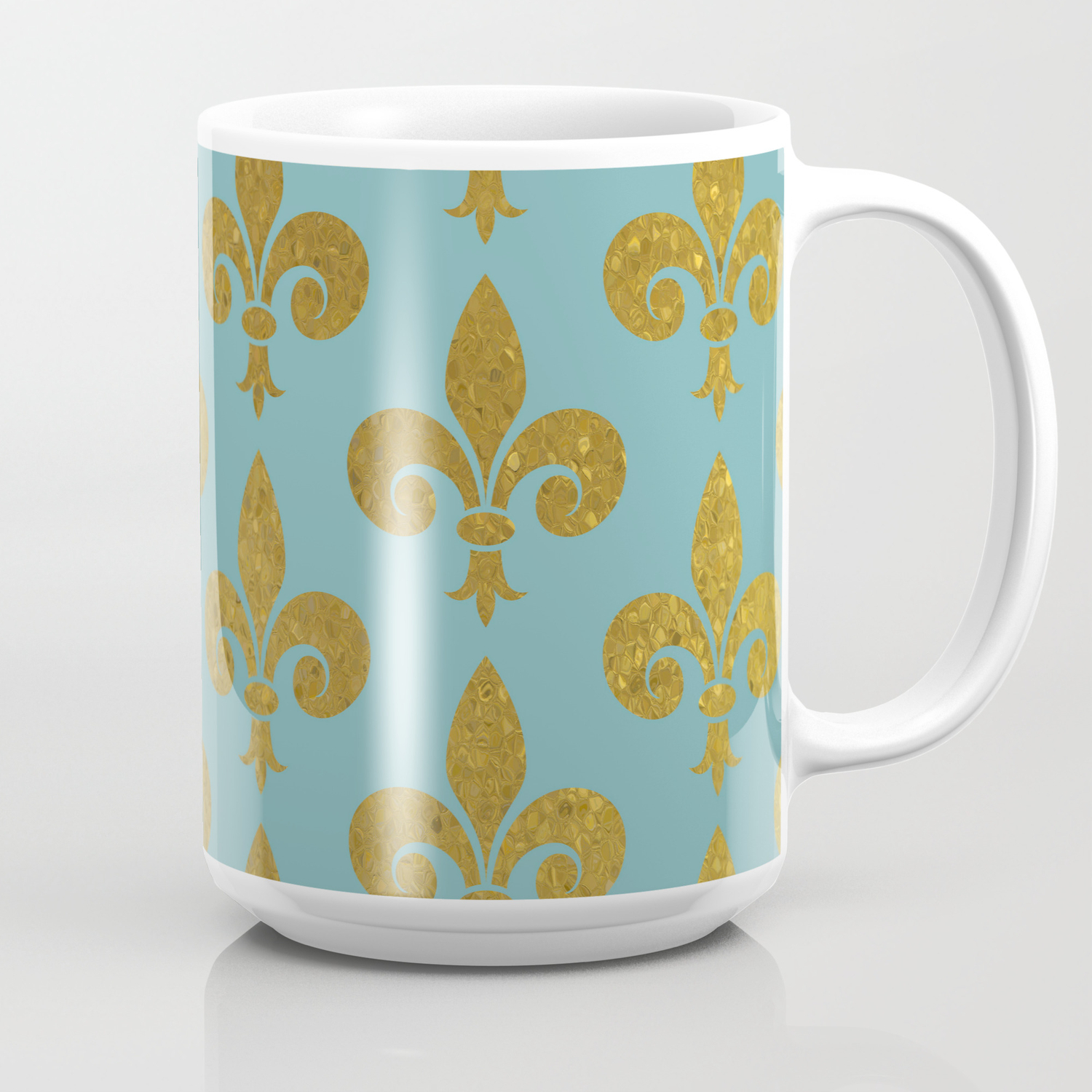 Aqua And Gold Fleur De Lis Coffee Mug By Justeverylittlething Society6