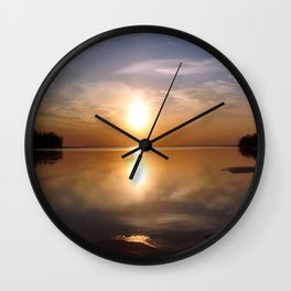 Lakeside Sunset Wall Clock