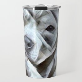 Pit Bull lover, a portrait of a beautiful pit bull puppy Travel Mug