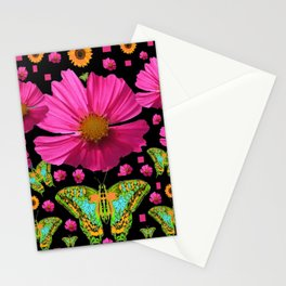 FUCHSIA PINK COSMO FLORALS GREEN MOTHS Stationery Cards