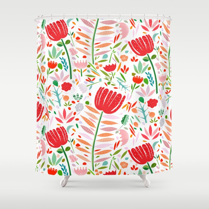 folk floral Shower Curtain by artandghosts | Society6