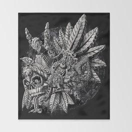 Aztec Great Lizard Warrior 1 (Triceratops) Throw Blanket