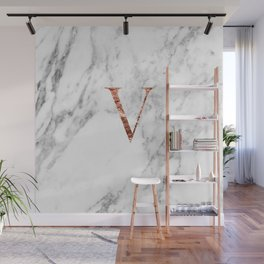 Monogram rose gold marble V Wall Mural