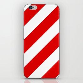Stripes Diagonal Red & White iPhone Skin
