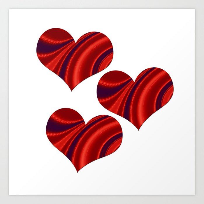 Fractal Heart Trio Art Print