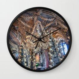 Sedlec Ossuary Interior Photo Art, Skull Bone Church Wall Clock
