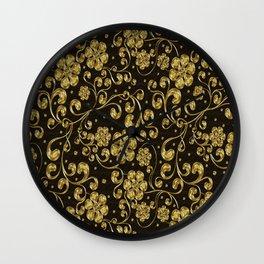 Gold Metallic Floral on Black Wall Clock