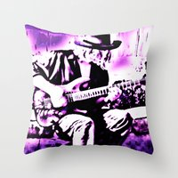 rock n roll Throw Pillows featuring Rock N' Roll Gypsy by Jussi Lovewell