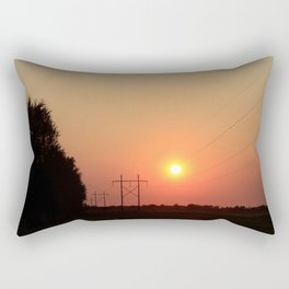 Kansas Sunset with Power Line and Poles Silhouettes Rectangular Pillow