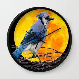 BLUE JAY & GOLDEN MOON LIGHT ABSTRACT Wall Clock