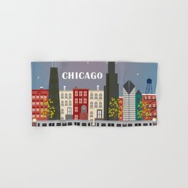 Chicago, Illinois - Skyline Illustration by Loose Petals Hand & Bath Towel