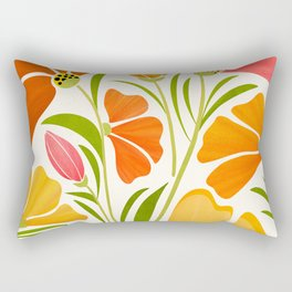 Spring Wildflowers / Floral Illustration Rectangular Pillow