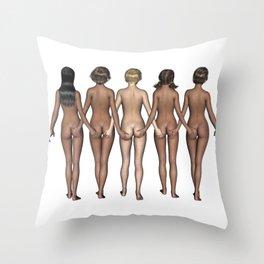 Cheeky Girls Holding Bottoms Throw Pillow