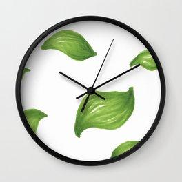 Bright green leaves pattern autumn fall summer Wall Clock