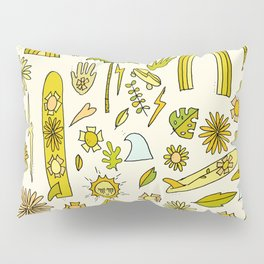 doodle daydreams sunshine and good vibes // retro art by surfy birdy Pillow Sham