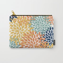 Floral Blooms, Orange, Yellow, Teal, Navy Carry-All Pouch