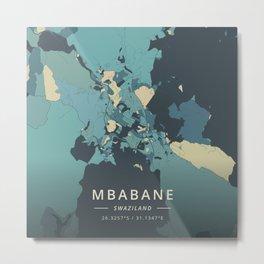 Mbabane, Swaziland - Cream Blue Metal Print