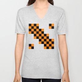 Black and orange squares Unisex V-Neck