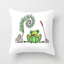 Frog, Fern, Bulrush and Rocks Throw Pillow